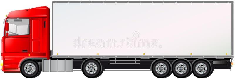 Geïsoleerde, rode vrachtwagen op witte achtergrond vector illustratie