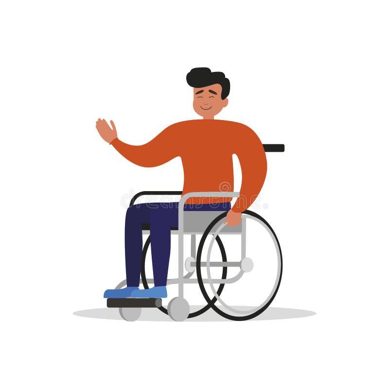 Geïsoleerde rolstoelkerel Mens met handicap stock illustratie
