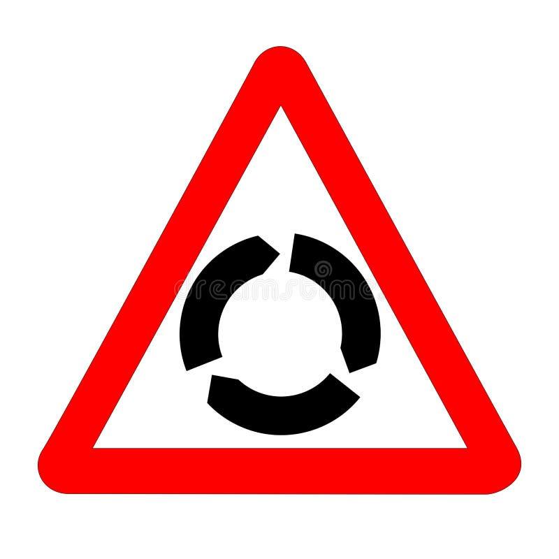 Geïsoleerde rotondeverkeersteken stock illustratie