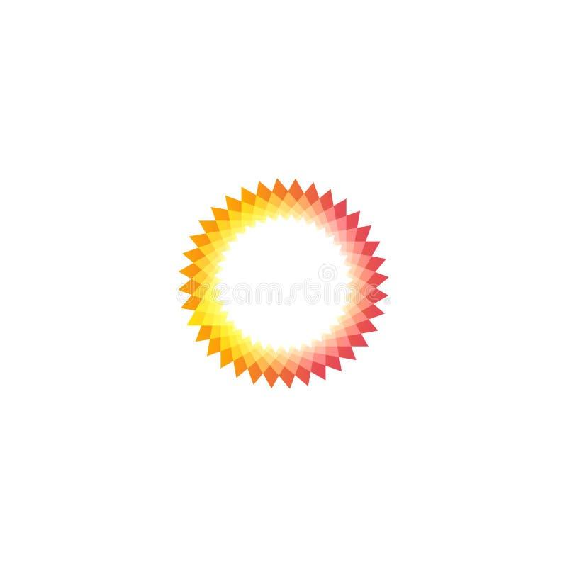 Geïsoleerde roze en gele kleurenzon logotype, abstract rond vormembleem op witte vectorillustratie als achtergrond stock illustratie