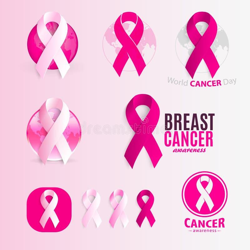 Geïsoleerde roze en witte het embleemreeks van kleurenlinten Tegen kanker logotype inzameling Het symbool van de eindeziekte inte vector illustratie