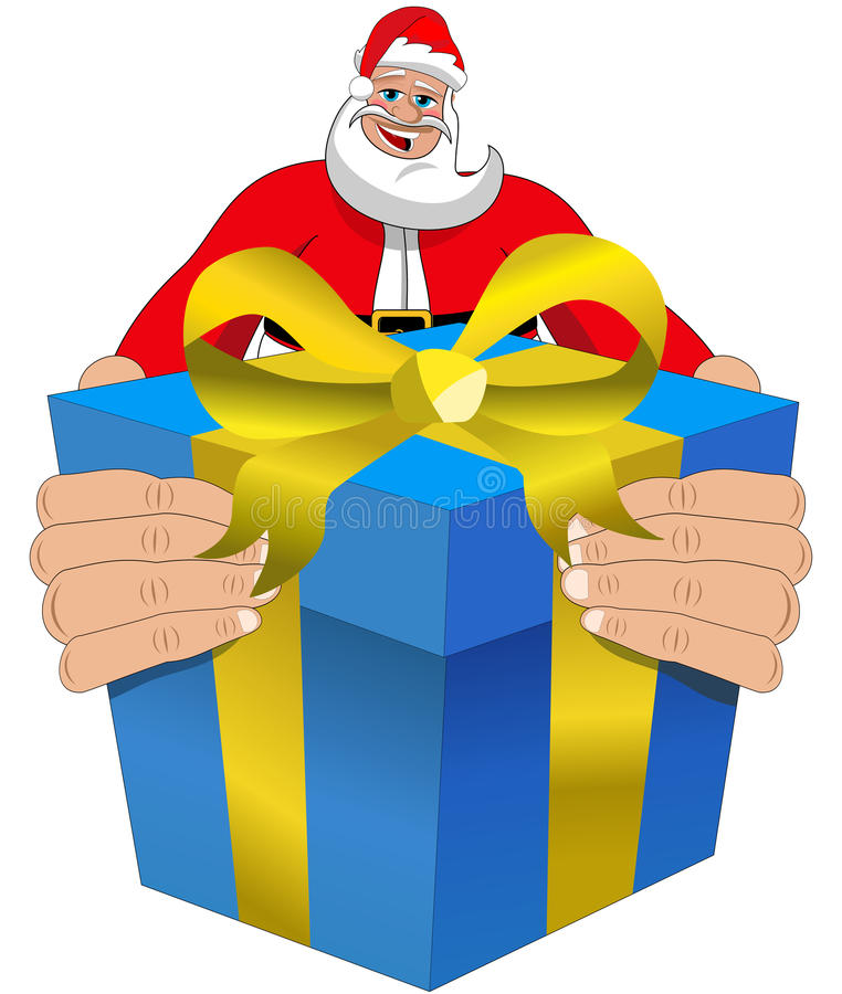Geïsoleerde Santa Claus Happy Delivering Xmas Gift stock illustratie