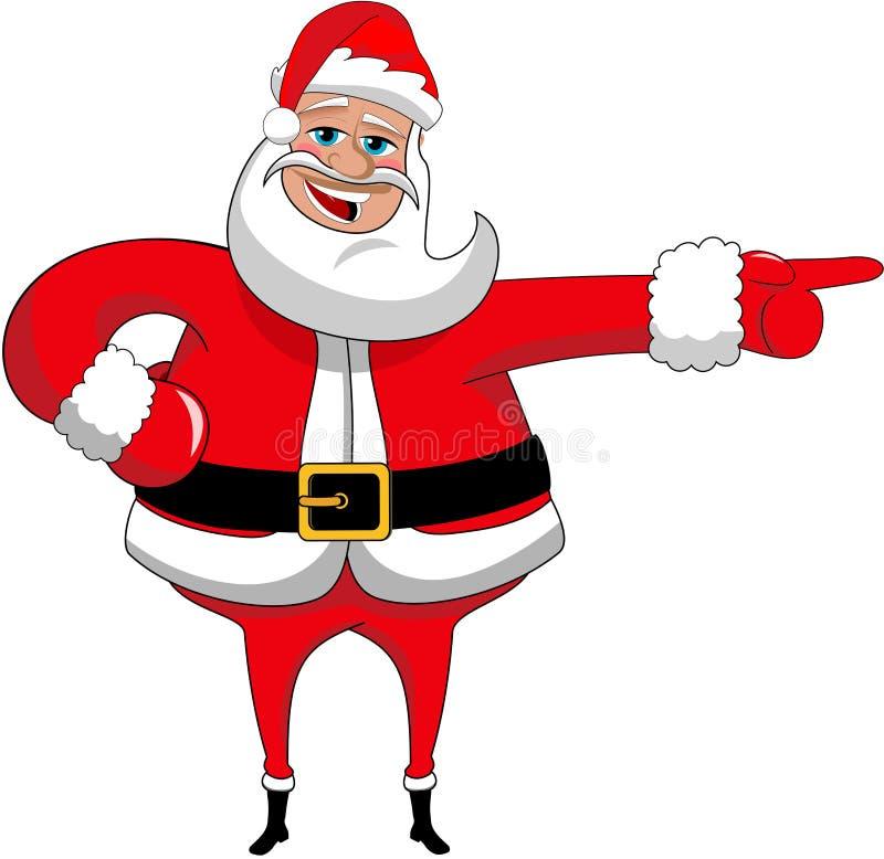 Geïsoleerde Santa Claus Happy Xmas Indicating Direction royalty-vrije illustratie