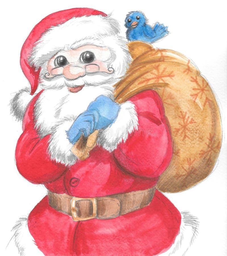Geïsoleerde Santa Claus met zak en vogel royalty-vrije illustratie