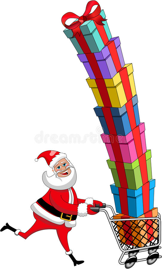 Geïsoleerde Santa Claus Pushing Cart Stack Gifts stock illustratie