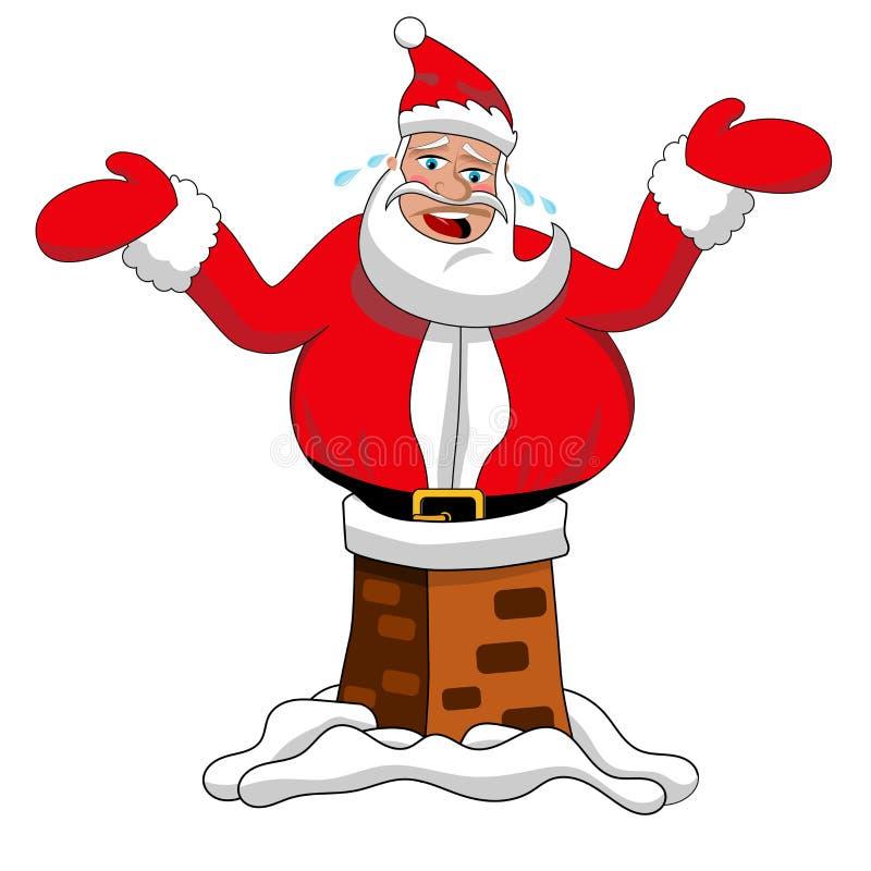 Geïsoleerde Santa Claus Stuck Chimney Roof Xmas vector illustratie