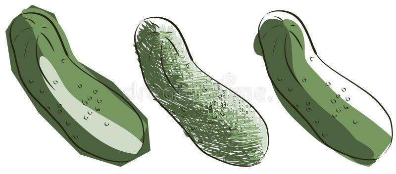 Geïsoleerde schets van komkommer stock illustratie