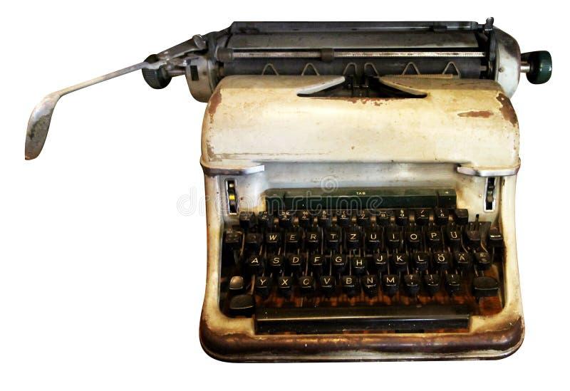 Geïsoleerde Schrijfmachine, Antieke Schrijfmachine, Analoog Materiaal stock afbeelding