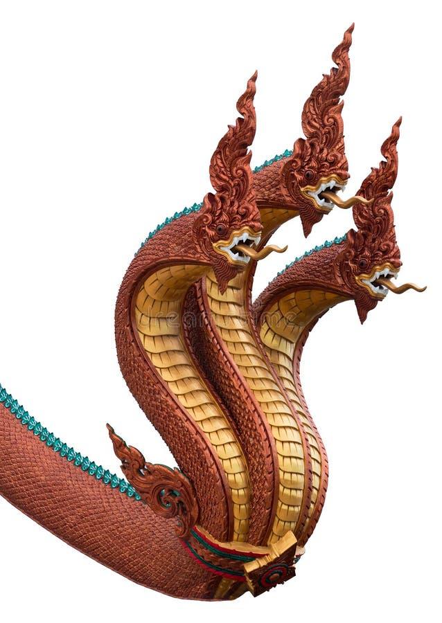 Geïsoleerde serpentkoning of koning van nagastandbeeld in Thaise tempel stock fotografie