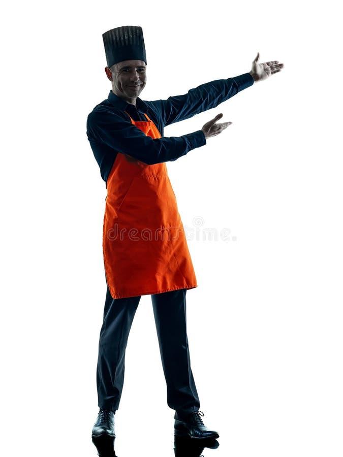 Geïsoleerde silhouet van de mensen het kokende chef-kok stock fotografie