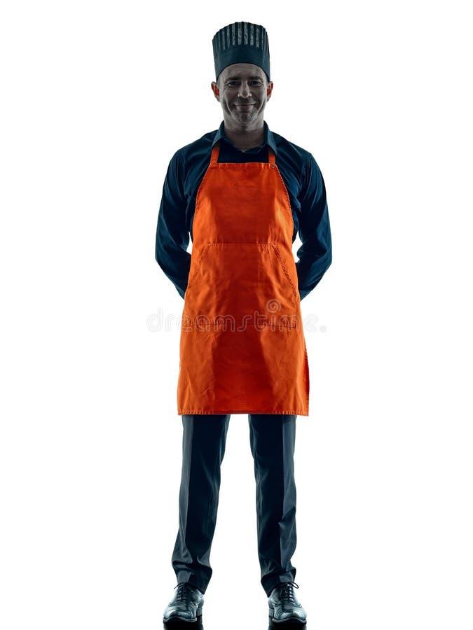 Geïsoleerde silhouet van de mensen het kokende chef-kok royalty-vrije stock foto