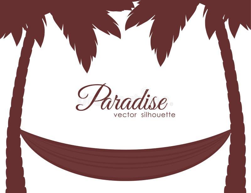 Geïsoleerde Silhouetten van palmen en hangmat op witte achtergrond stock illustratie