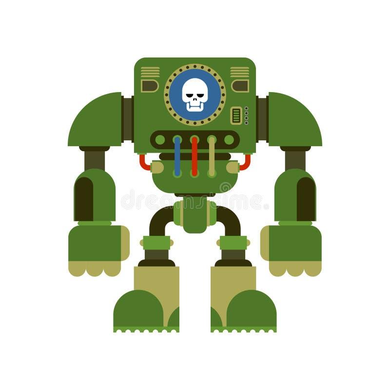 Geïsoleerde slagrobot De toekomst van de Cyborgstrijder Vector Illustratio vector illustratie
