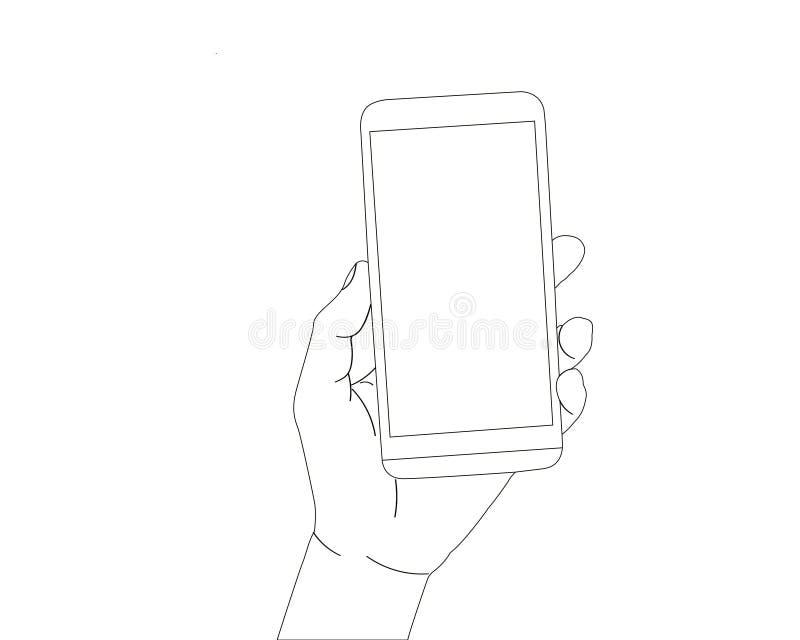 Geïsoleerde smartphone van de handholding royalty-vrije stock afbeelding