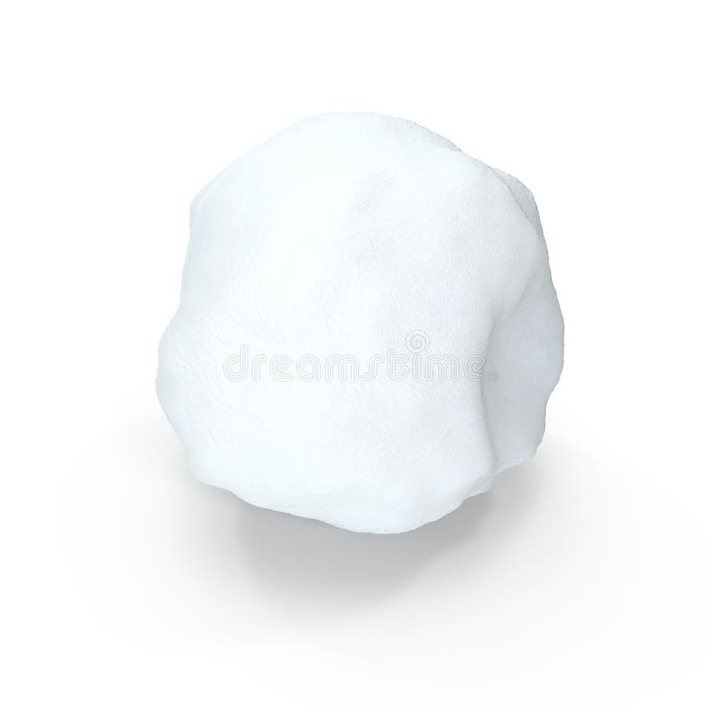 Geïsoleerde Sneeuwbal op Witte Achtergrond 3D Illustratie royalty-vrije illustratie