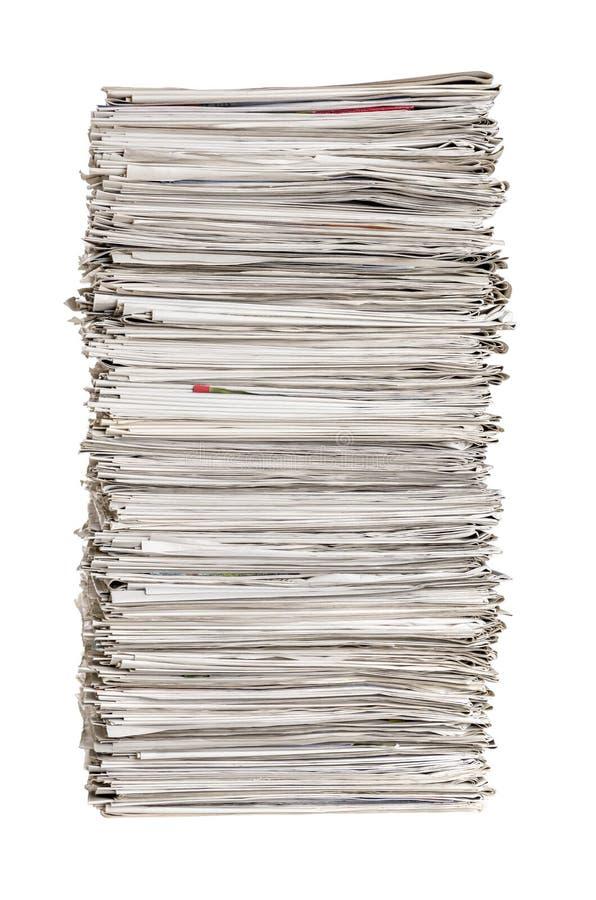 Geïsoleerde stapel van kranten royalty-vrije stock afbeelding