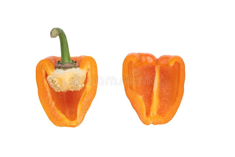 Geïsoleerde stukken van oranje peper royalty-vrije stock afbeelding