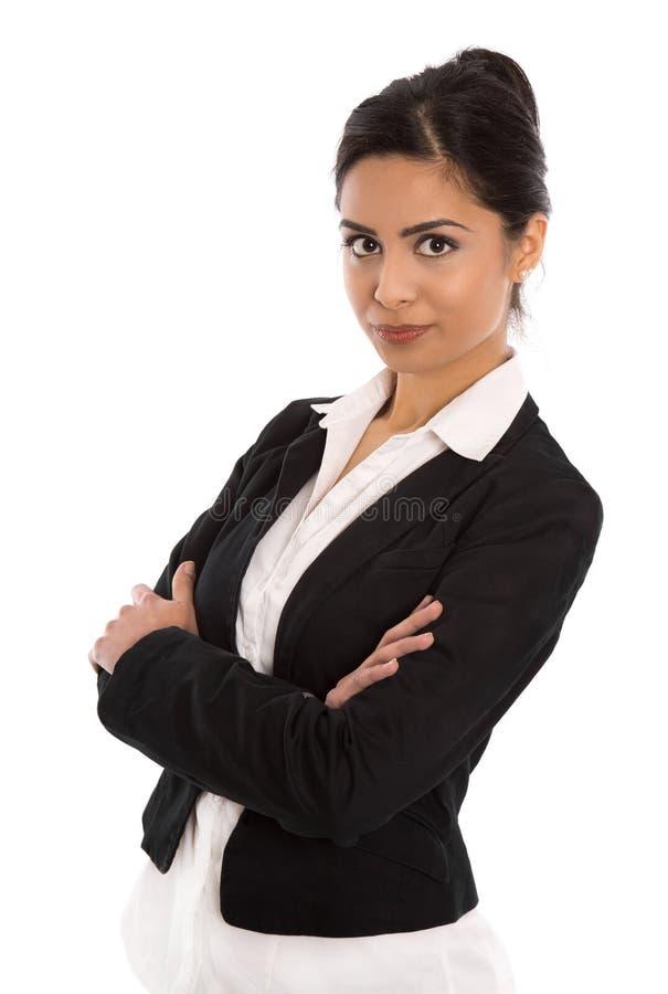 Geïsoleerde succesvolle gelukkige Indische bedrijfsvrouw over wit stock foto's
