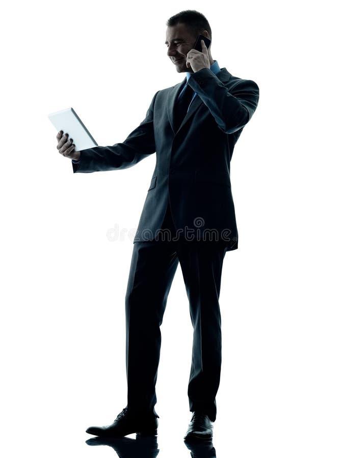 Geïsoleerde telefoon van de bedrijfsmensen de digitale tablet stock afbeelding