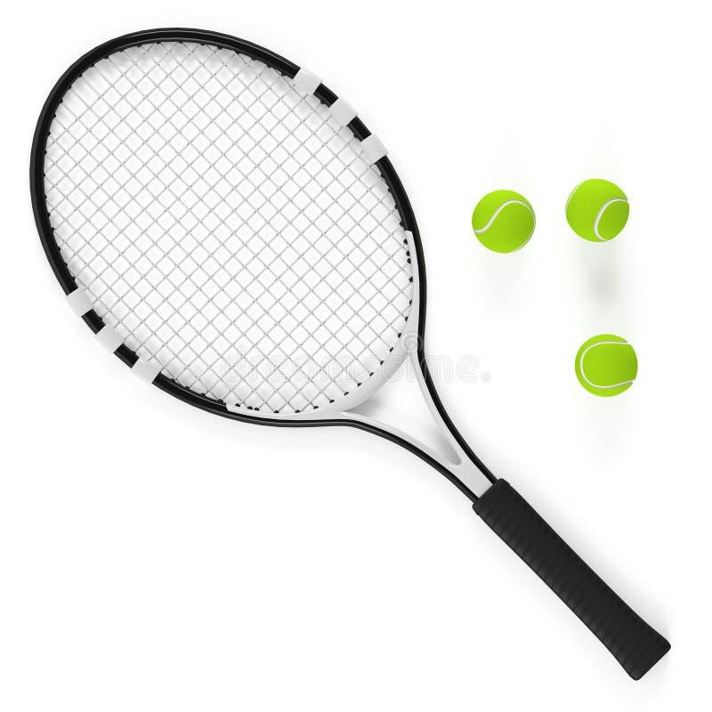 Geïsoleerde tennisracket en bal stock illustratie