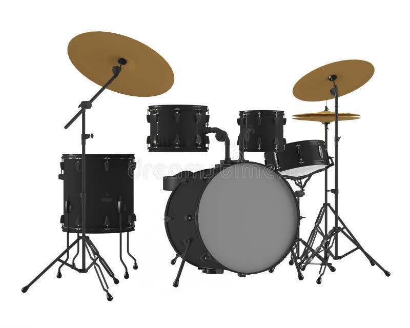 Geïsoleerde trommels. Zwarte trommeluitrusting. stock afbeelding