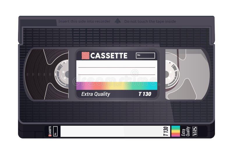 Geïsoleerde uitstekende VHS-band Vector gekleurde illustratie op lichte achtergrond Origineel retro voorwerp royalty-vrije illustratie