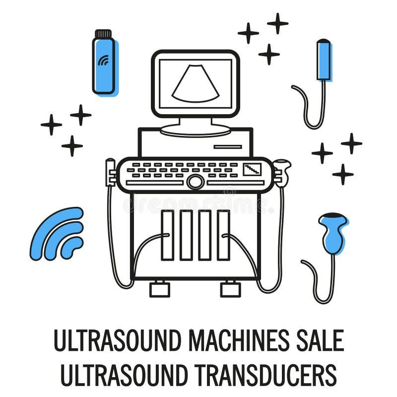 Geïsoleerde ultrasone klankmachine stock illustratie