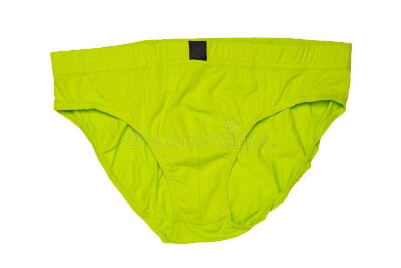 Geïsoleerde Underwaremensen Close-up van groen mannetje underware of onderbroek die op een witte achtergrond wordt geïsoleerd Kle stock foto
