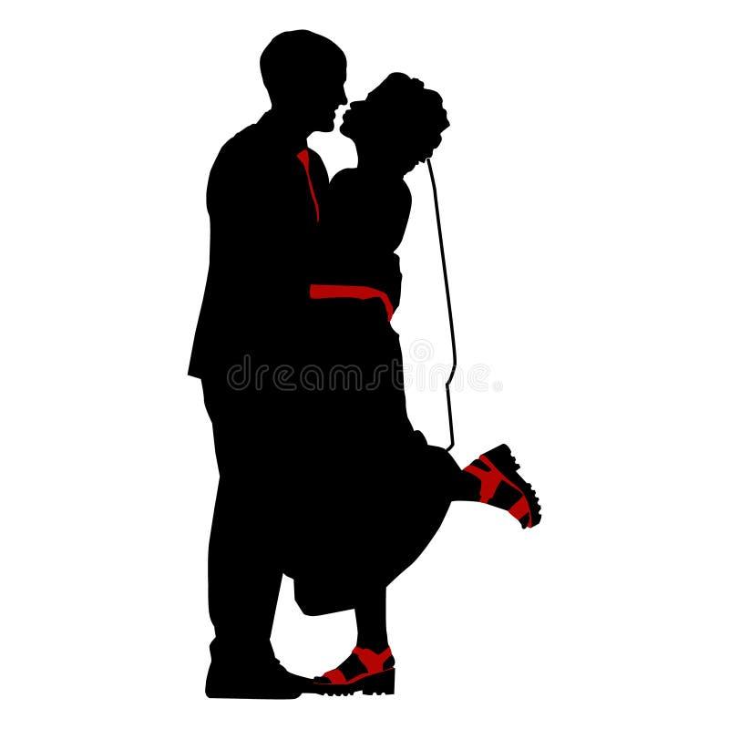 Geïsoleerde vector, silhouet, huwelijk, bruid en bruidegom vector illustratie
