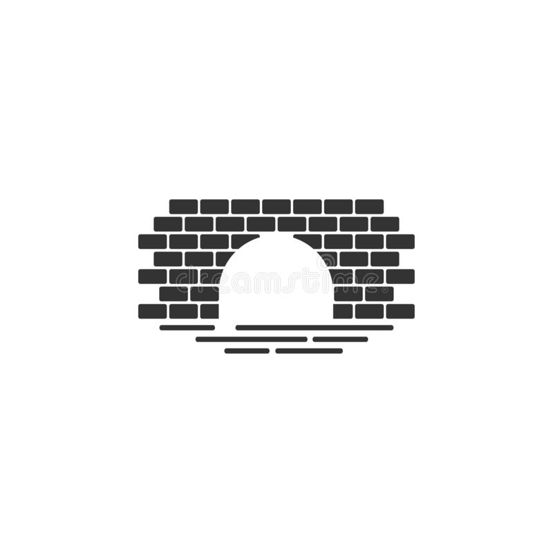 Geïsoleerde vector van de het pictogram de grafische ontwerpsjabloon van de baksteenbrug royalty-vrije illustratie