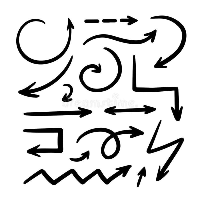 Geïsoleerde vectorhand getrokken geplaatste pijlen royalty-vrije illustratie