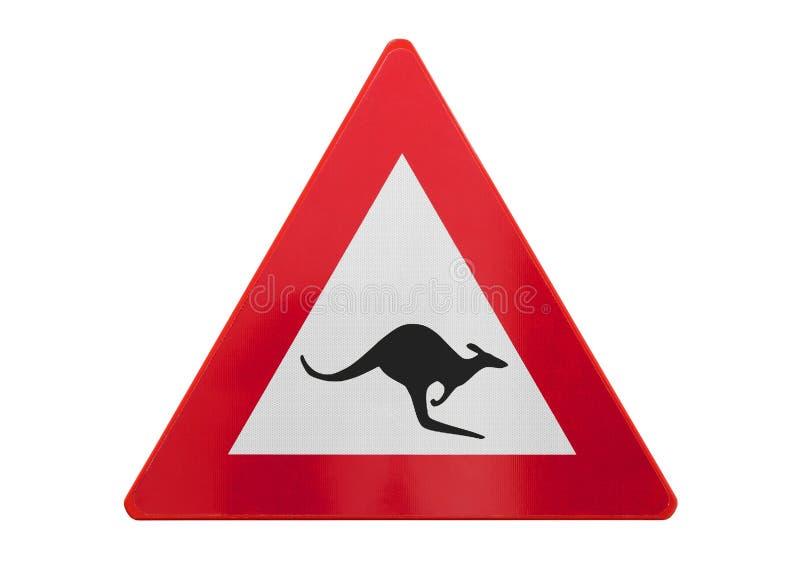 Geïsoleerde verkeersteken - Kangoeroe stock afbeeldingen