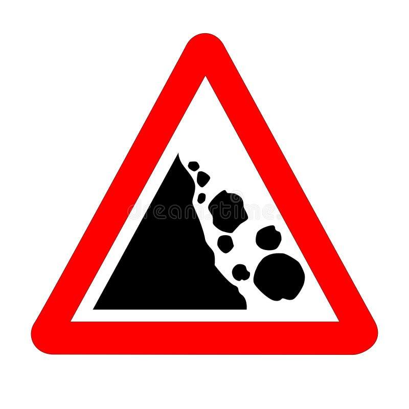 Geïsoleerde Verkeersteken van gevaars de Dalende Rotsen stock illustratie