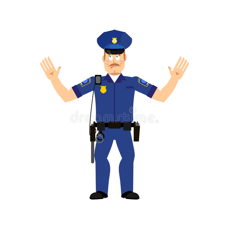 Geïsoleerde verrast politieman Politieagent verbaasde emotie stock illustratie