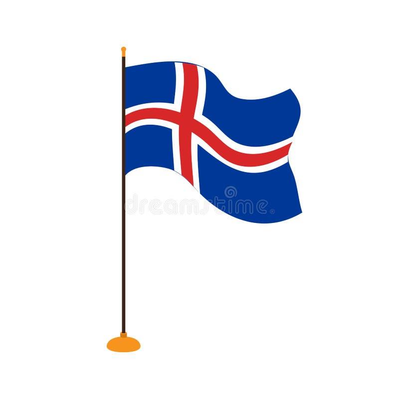 Geïsoleerde vlag van IJsland vector illustratie