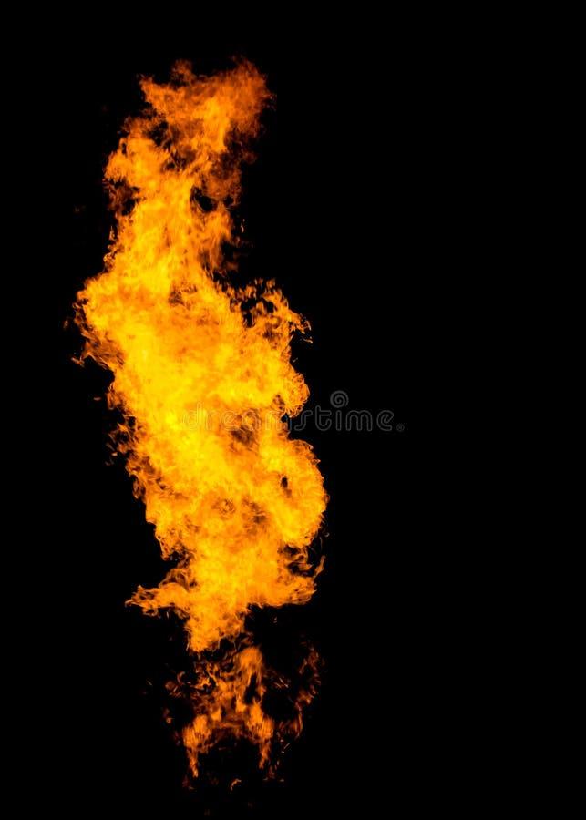 Geïsoleerde vlamkolom, brandpijler op zwarte royalty-vrije illustratie