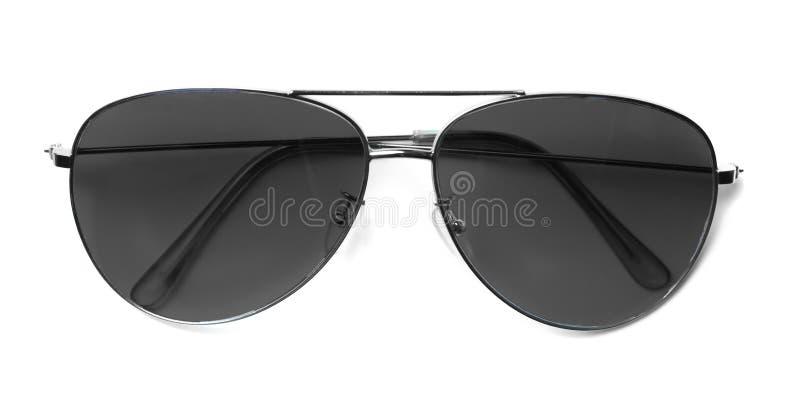 Geïsoleerde Vliegenier Sunglasses met Zwarte Lenzen stock fotografie
