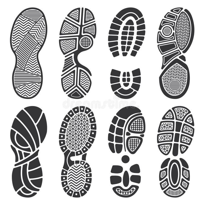 Geïsoleerde voetafdruk vectorsilhouetten Vuile schoenen en tennisschoenenvoetafdrukken vector illustratie