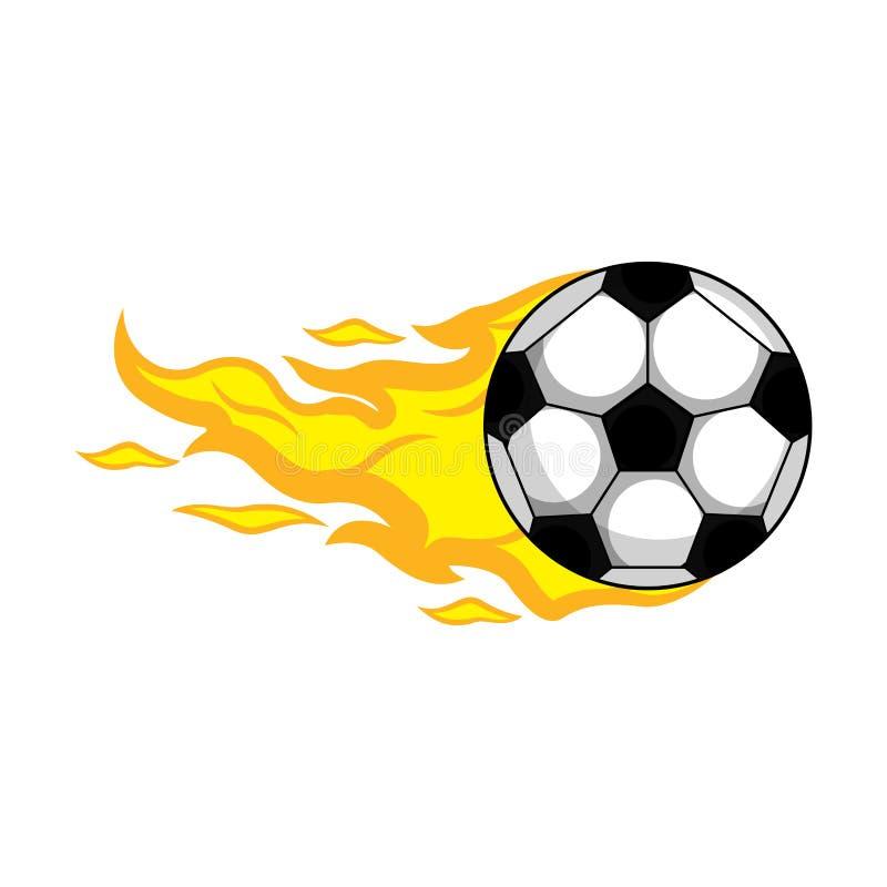 Geïsoleerde voetbalbal met een brandeffect stock illustratie