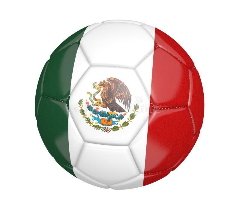 Geïsoleerde voetbalbal, of voetbal, met de vlag van het land van Mexico stock illustratie