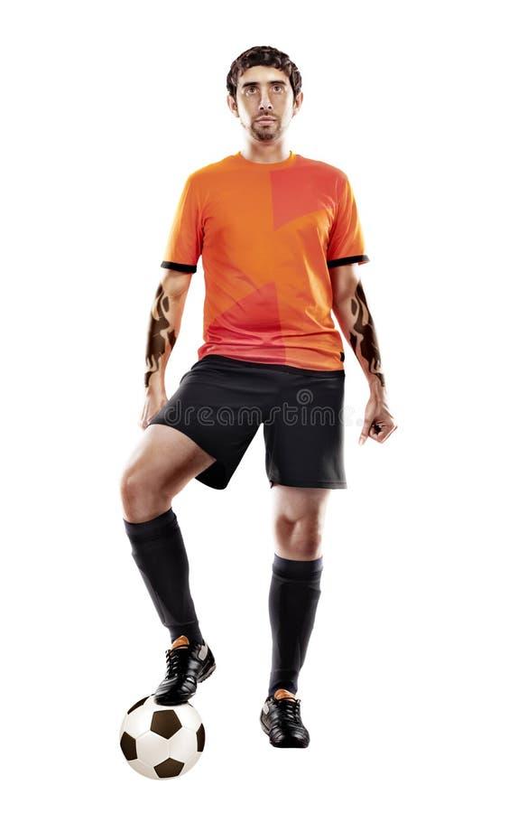 Geïsoleerde voetbalster met bal, stock fotografie
