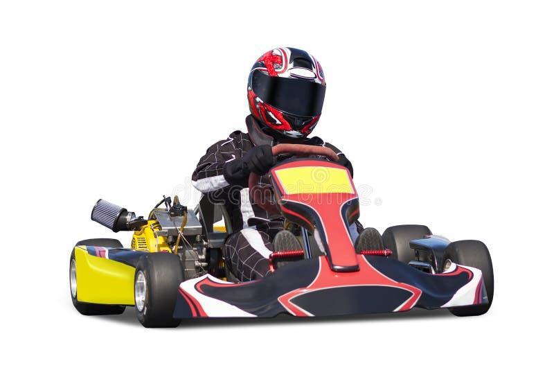 Geïsoleerde Volwassen Go-kartraceauto stock afbeeldingen