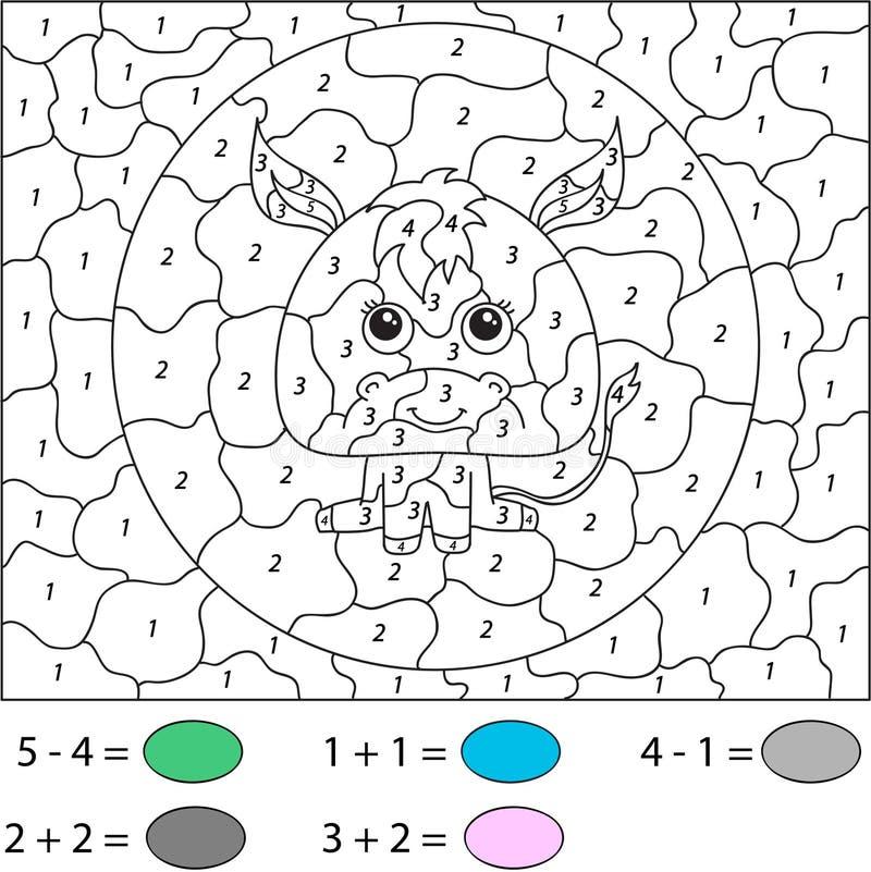 Geïsoleerde voorwerpen voor ontwerpelement Kleur door aantal onderwijsspel voor jonge geitjes royalty-vrije illustratie
