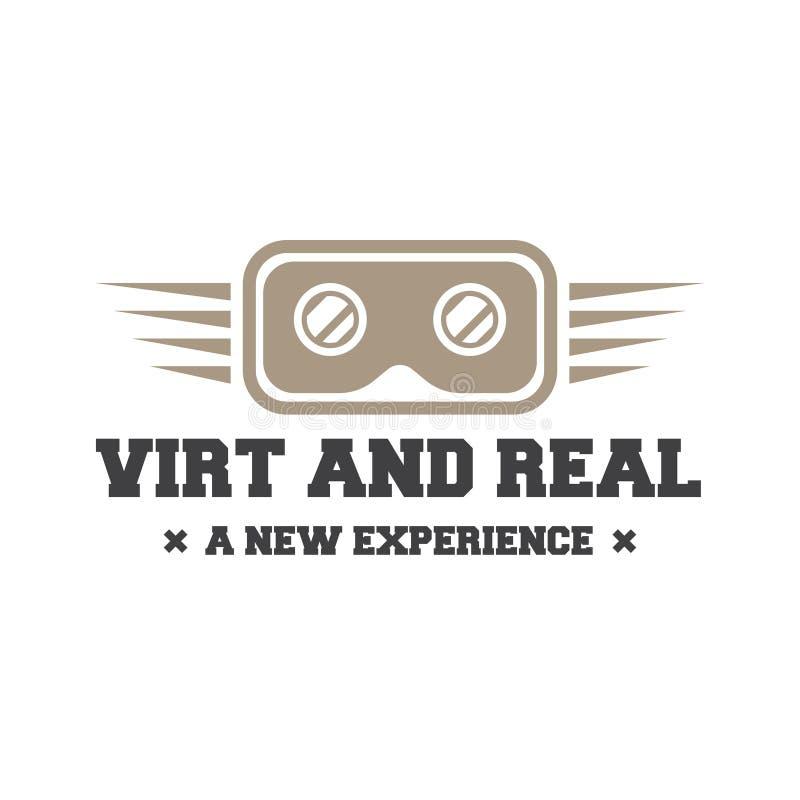 Geïsoleerde vr hoofdtelefoon logotype Het virtuele embleem van de werkelijkheidshelm Hoofd-opgezet vertoningspictogram Embleemapp vector illustratie