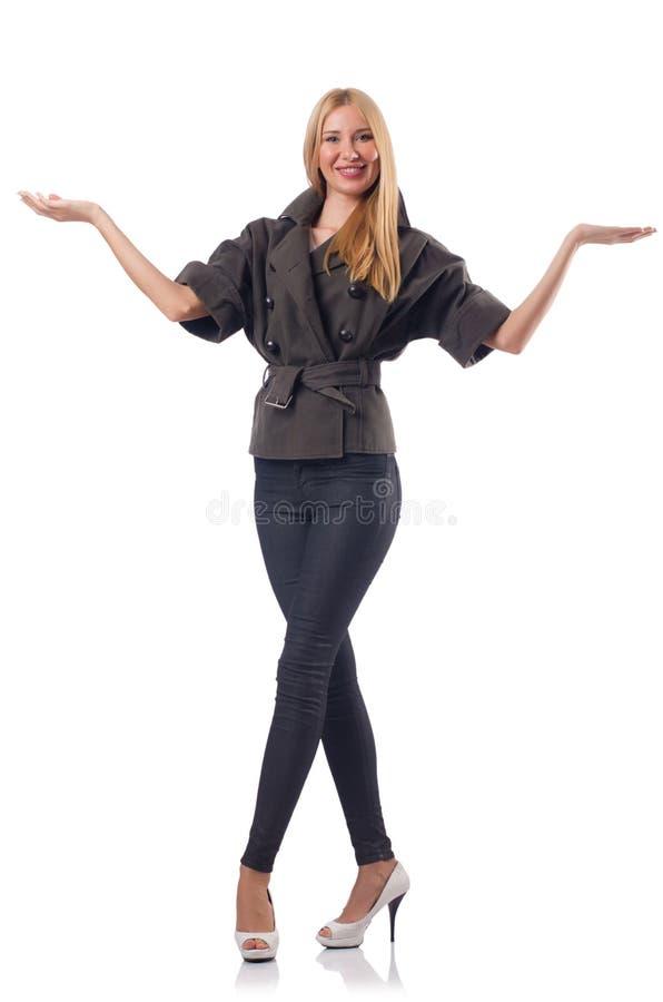 Geïsoleerde vrouw stock foto