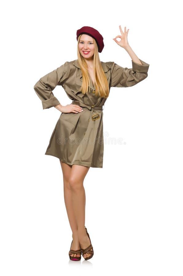 Geïsoleerde vrouw in militaire kleding royalty-vrije stock afbeeldingen