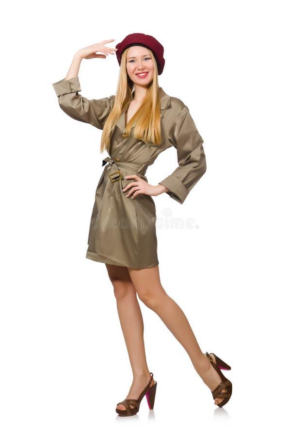 Geïsoleerde vrouw in militaire kleding stock foto