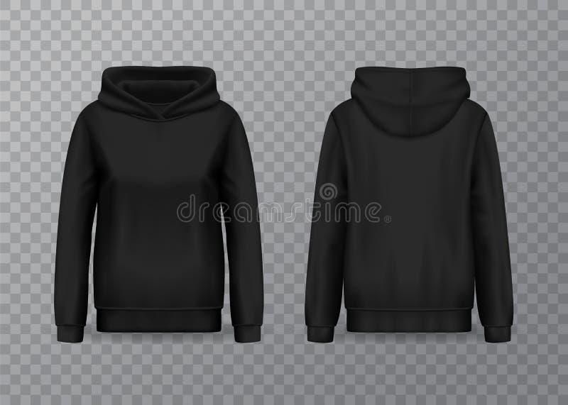 Geïsoleerde vrouwen hoody, hoodie met lange kokers vector illustratie