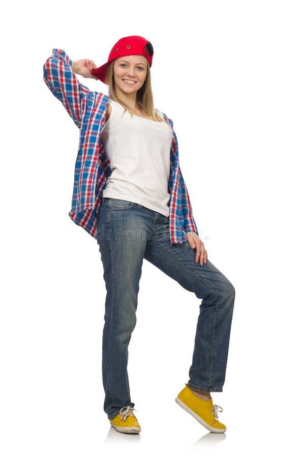 Geïsoleerde vrouwendanser stock afbeelding