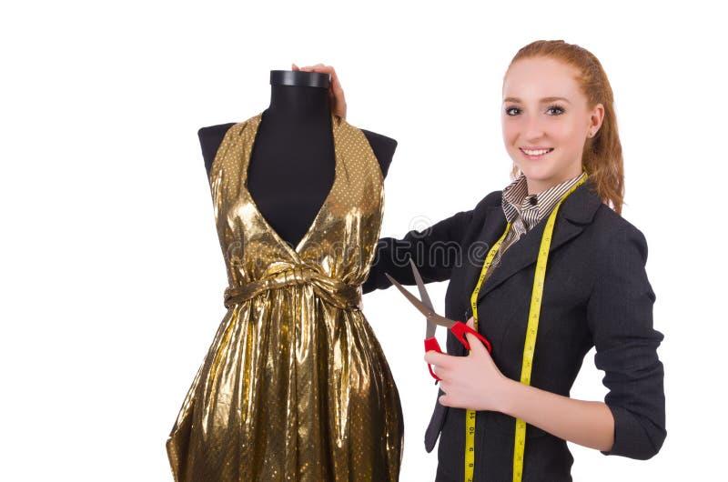 Geïsoleerde vrouwenkleermaker stock foto